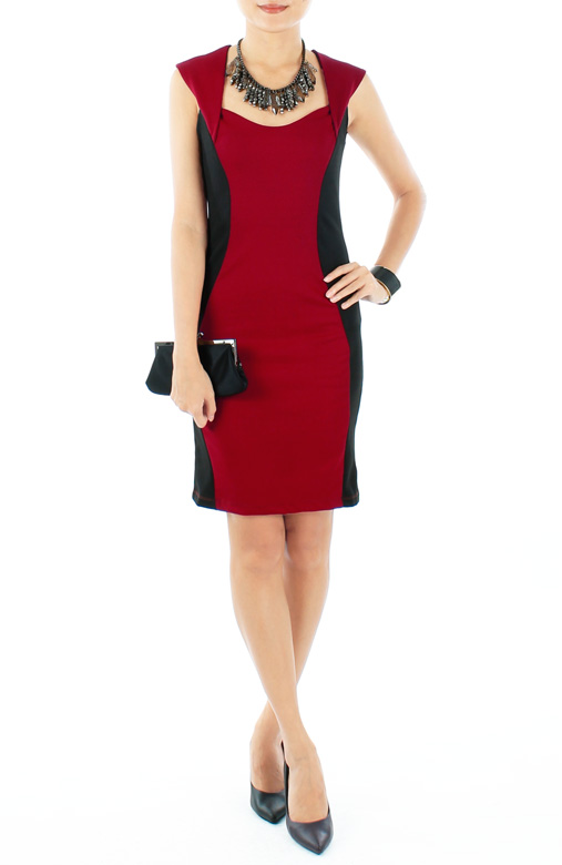Oxblood Red Designer-inspired Hourglass Dress