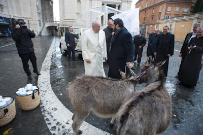 Pope and donkeys