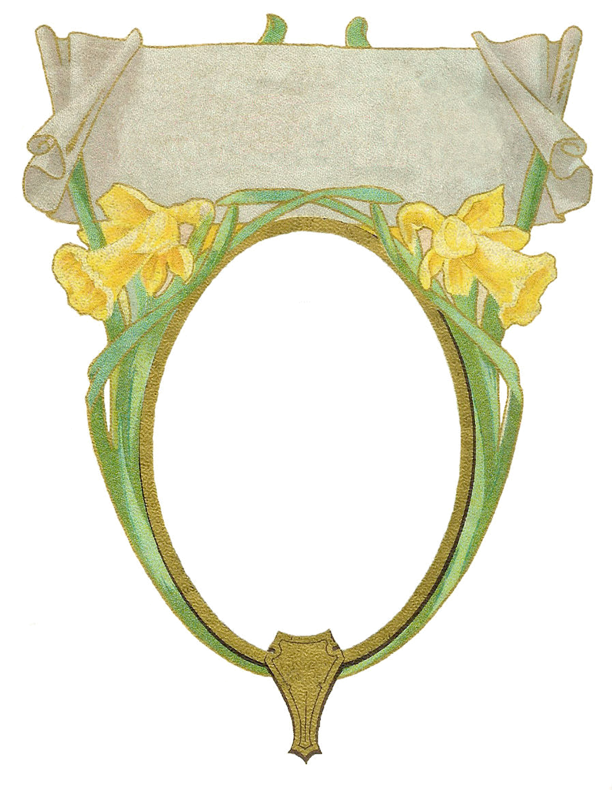 Free Vintage Frame Graphic: Circle Frame with Yellow Iris and Scroll