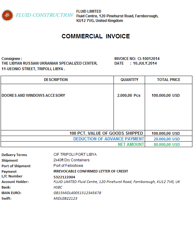 what does an invoice look like