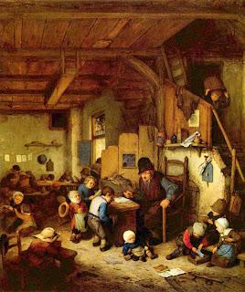 Stern schoolmaster facing class of young hard-working children