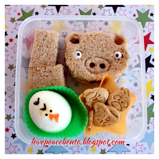 Angry Birds bento lunch with sandwich and hardboiled egg