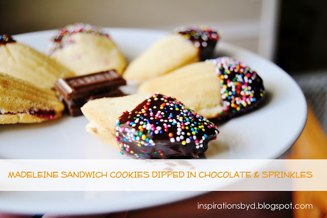Madeleine Sandwich Cookies Dipped in Chocolate & Sprinkles