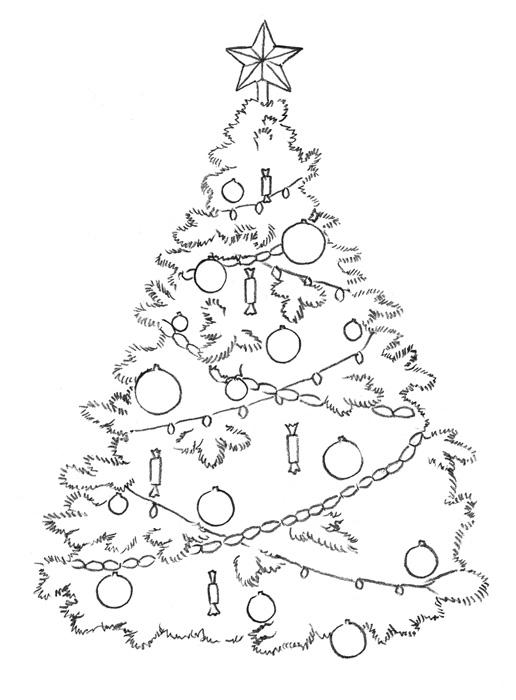 рисунок новогодней елки с дедом морозом
