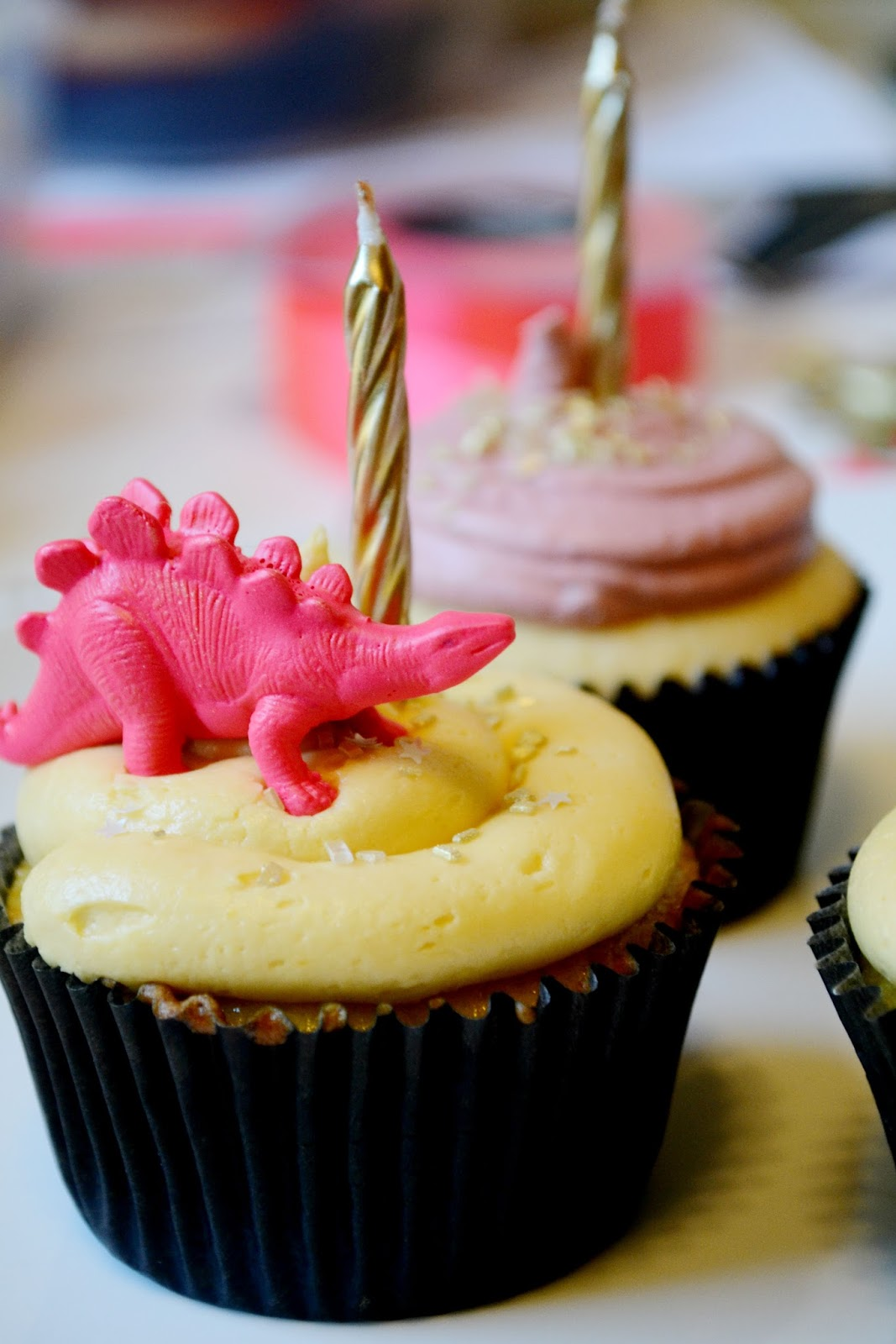 dinosaur, neon pink, cupcake, apricot, gold,