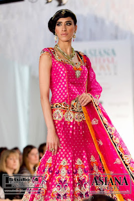 hot pink with orange lengha by Ekta Solanki