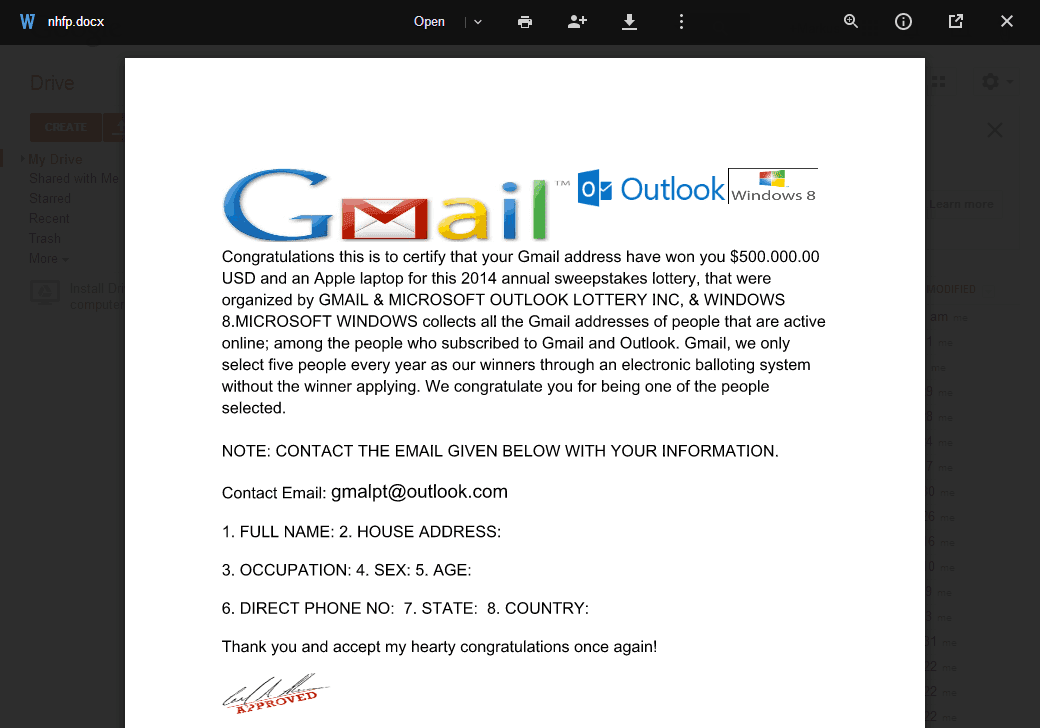 Metadata Consulting Gmail Sweepstakes Lottery Spam