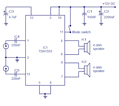 Class B audio amplifier based on TDA1553