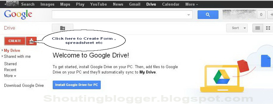how to create free contact us for blogger blog login to your google account and click on documents form