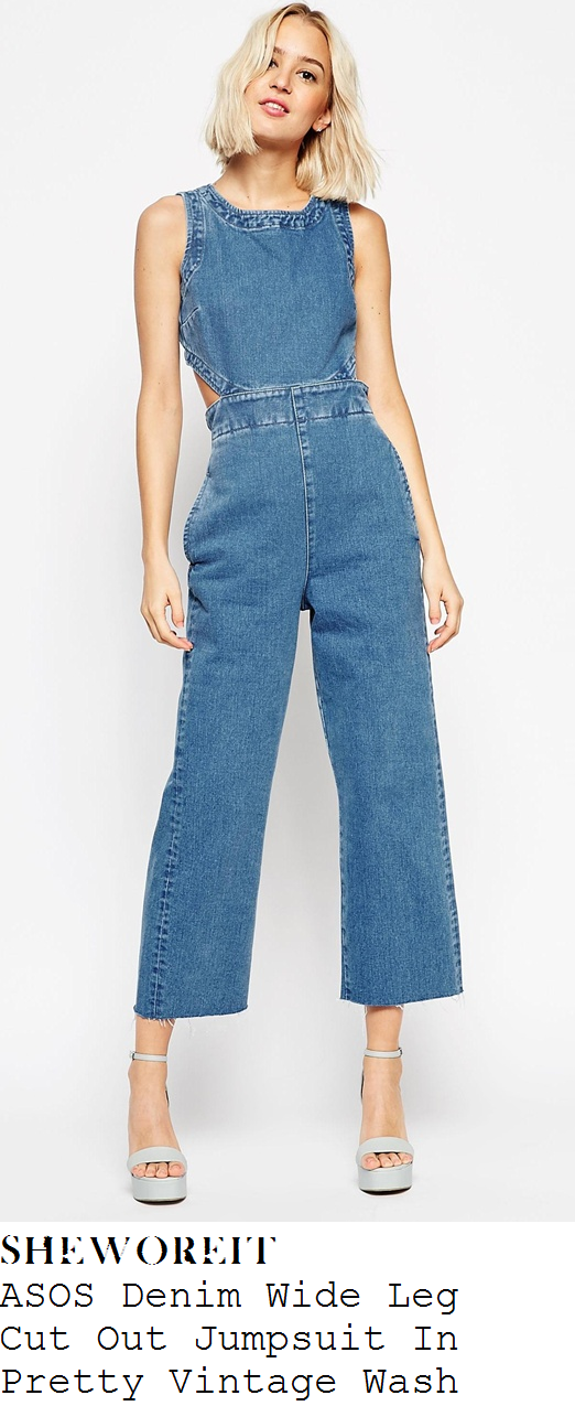 perrie-edwards-sleeveless-wide-leg-denim-jumpsuit