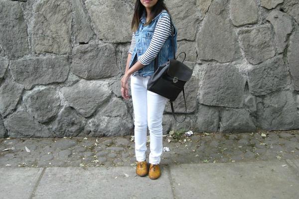 Outfit White Jeans Denim Vest Stripe Tshirt