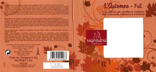 tablette de chocolat lait gourmand monbana lait l'automne