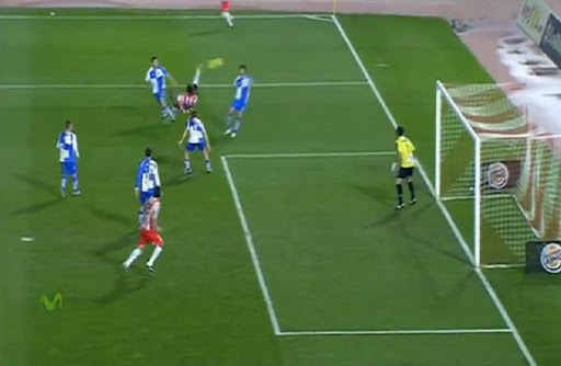 Almería striker Henok Goitom shoots a brilliant bicycle kick to score against Sabadell