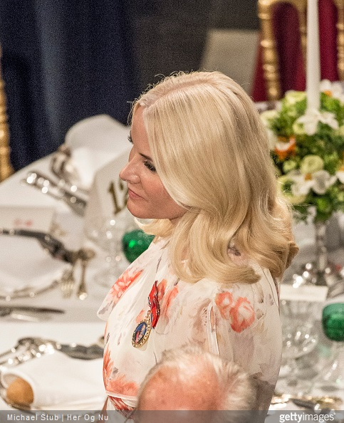 Crown Princess Mette-Marit of Norway attends a private party in Fredensborg Castle during the festivities for the 75th birthday of the Danish Queen