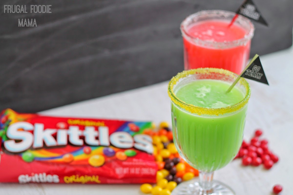 Skittles Game Face Fizz- This fruity and fizzy drink is fun for all ages! Make it in your favorite team colors for the big game.