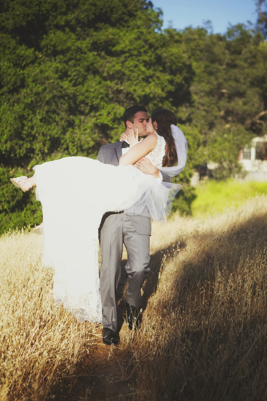 wheat field wedding photo