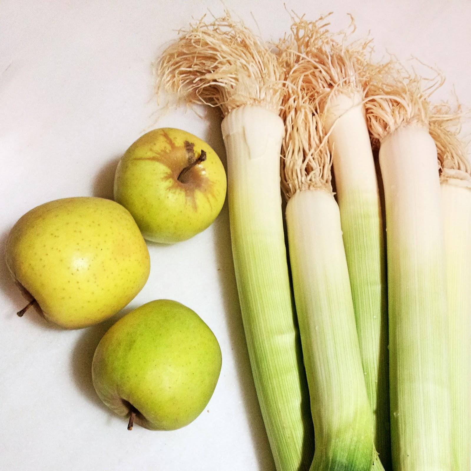 puerros, manzanas, receta crema de puerros y manzanas
