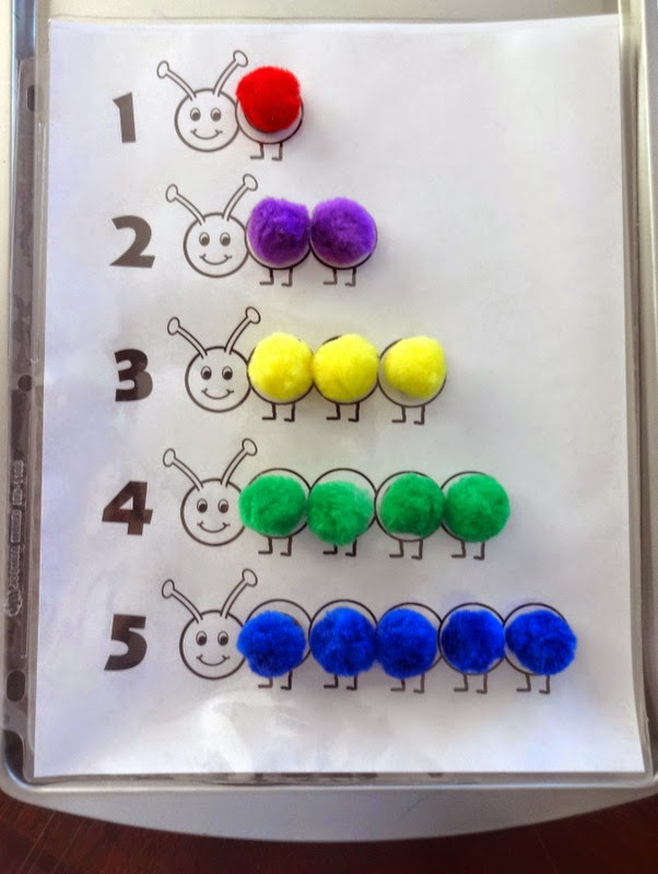 Magnetic Pom Pom Caterpillars - Counting Practice