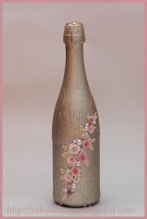 декор бутылок, новогоднее шампанское