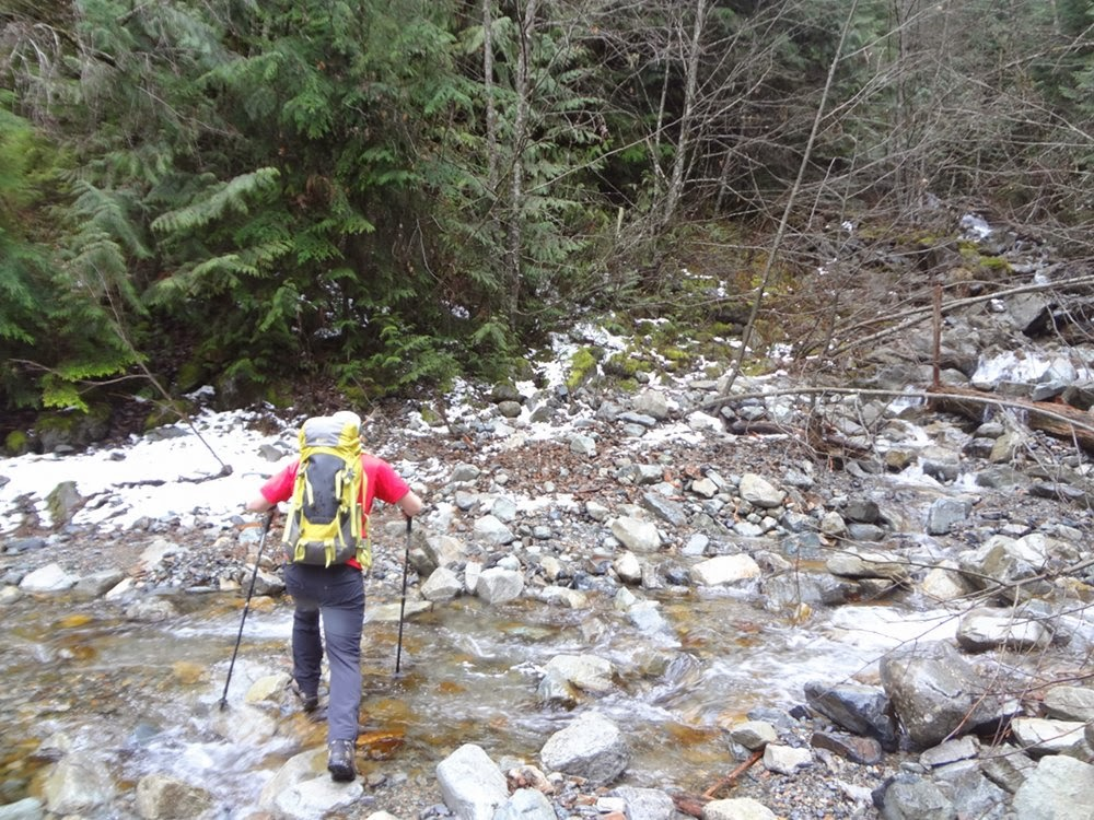 Crossing Magnesia Creek on the trail towards Brunswick Mountain