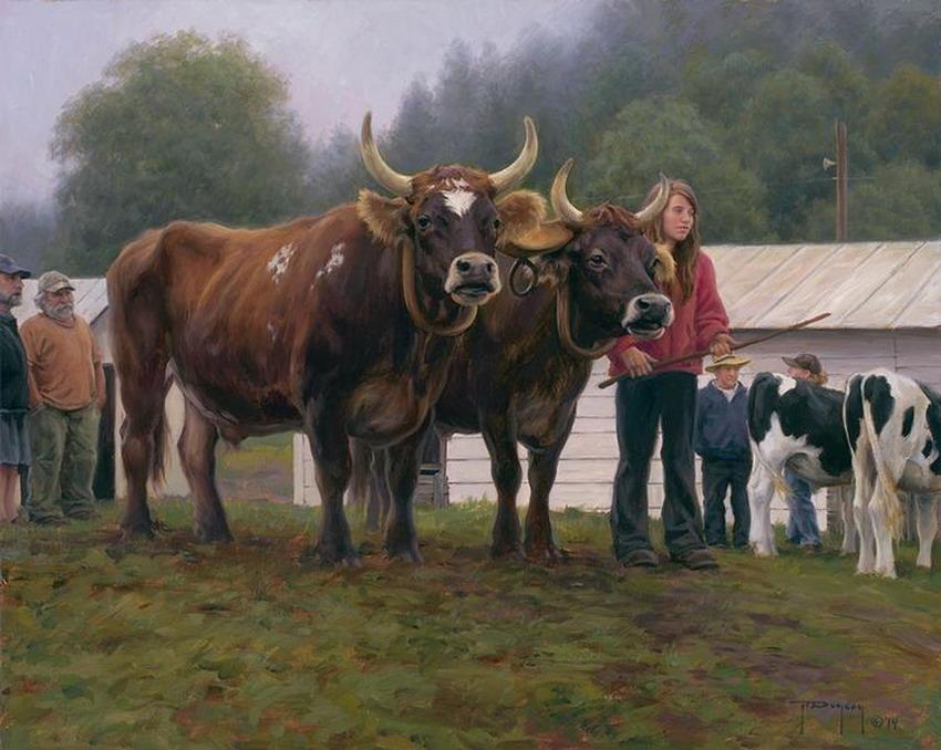 Cuadros pinturas oleos escenas del campo con caballos y vacas paisajes costumbristas americanos - Cuadros de vacas ...