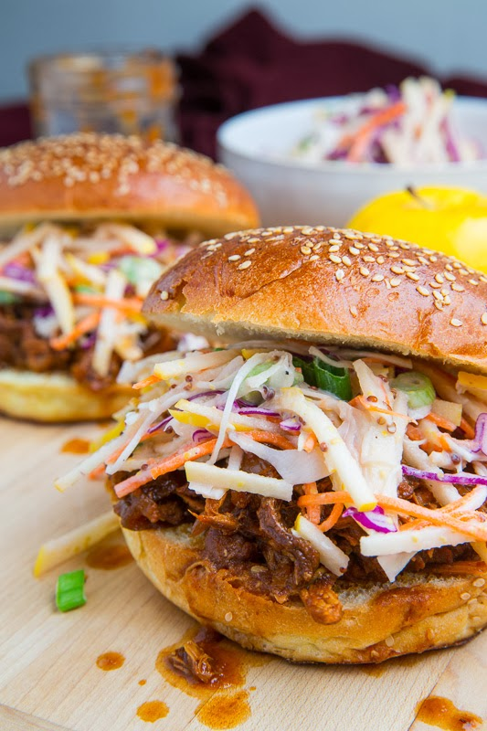 Apple BBQ Pulled Chicken Sandwiches with Apple Slaw on Closet Cooking