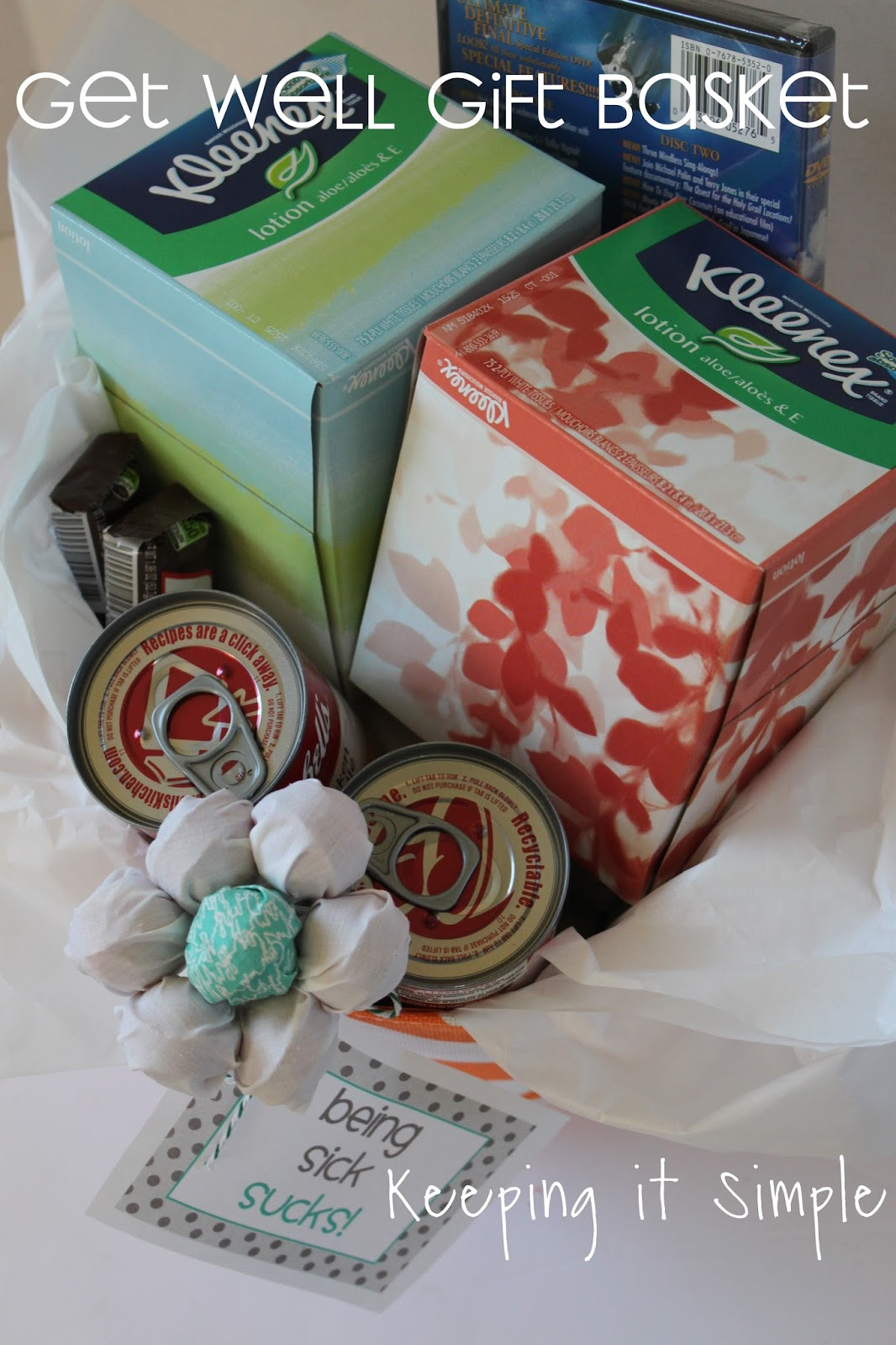 Keeping it simple get well gift basket with kleenex brand