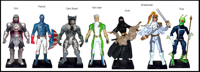 <b>Wave 11</b>: Ord, Patriot, Dark Beast, Noh Varr (Marvel Boy), Dust, Shatterstar and Bug