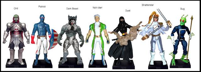 <b>Wave 11</b>: Ord, Patriot, Dark Beast, Noh Varr (Marvel Boy), Dust, Shatterstar and Bug