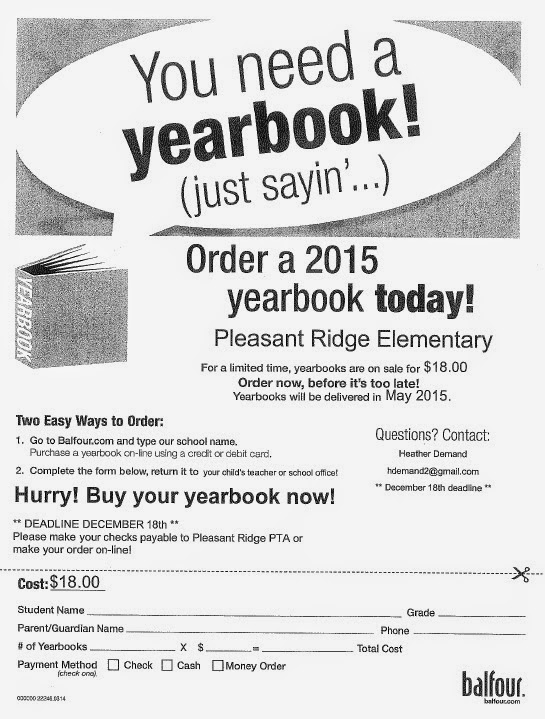 Pleasant Ridge Elementary: Yearbook Order Form