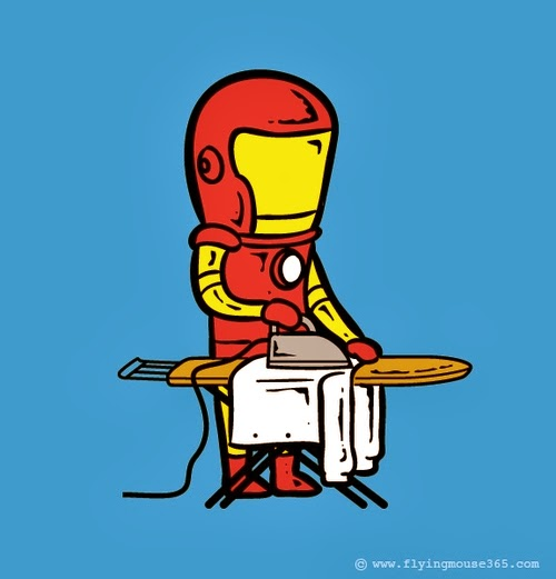 07-Iron-Man-Ironing-Business-Illustrator-Chow-Hon-Lam-Superheroes-Part-Time Jobs-www-designstack-co