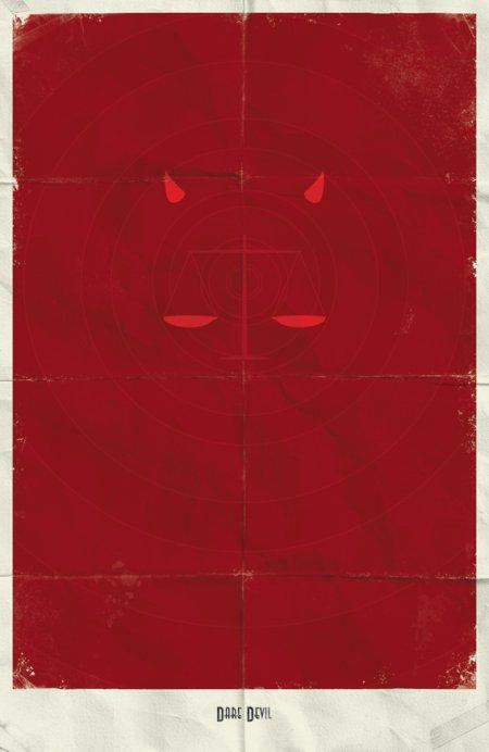 marko manev ilustração poster minimalista super heróis marvel Demolidor