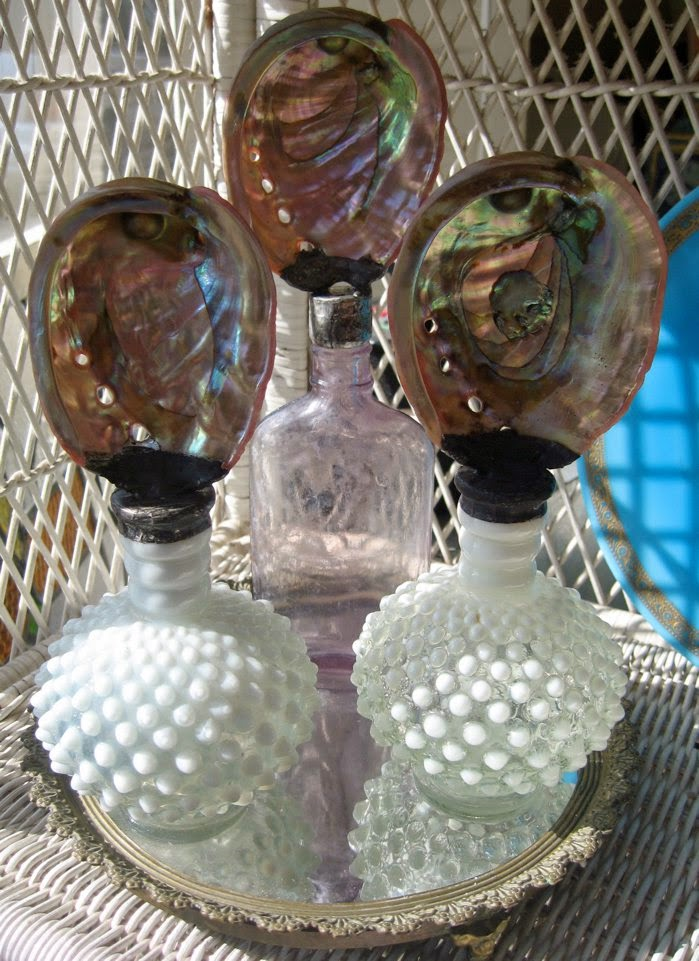Soldered abalone and opaline bottles by The Pickled Hutch