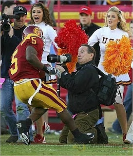 funny photo american footballer collide against photographer