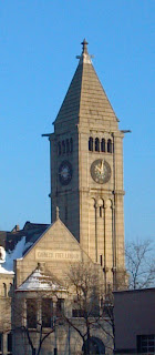 clock tower on the carnegie free library in pittsburgh