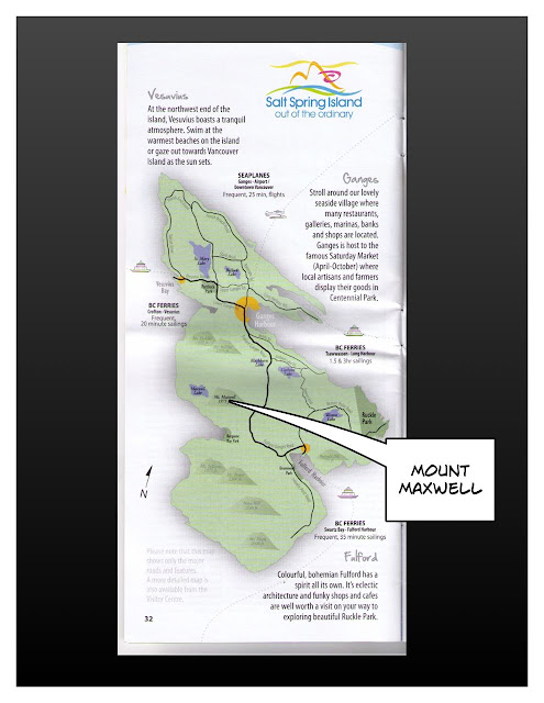 map of Salt Spring Island, BC pointing out Mount Maxwell
