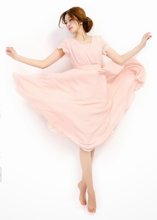 Flamingo Pink Short-Sleeve Organza Chiffon Midi Dress