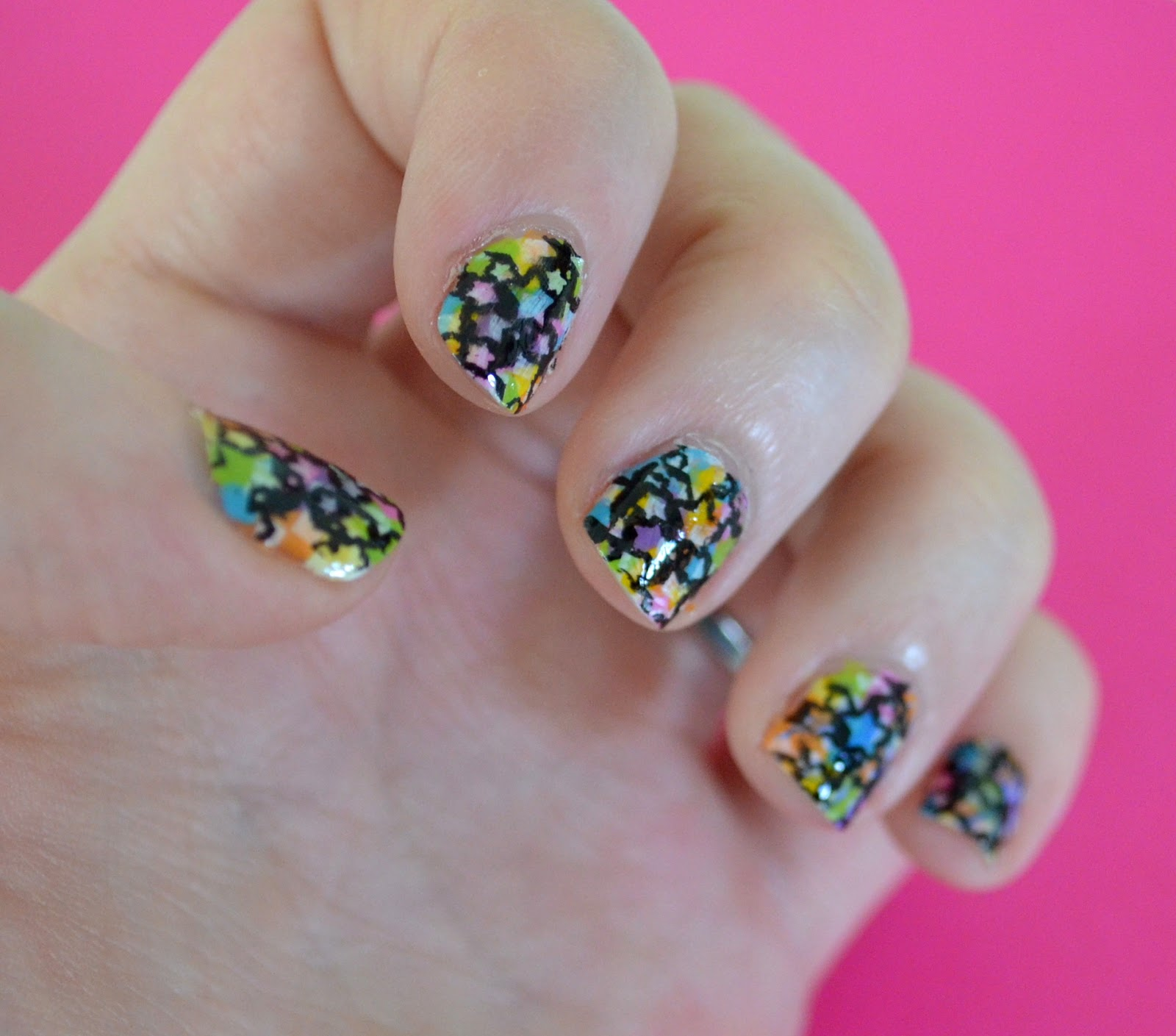Very Enchanting: Paint Splatter & Neon Star Nail Tutorial