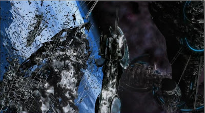 Spaceship debris war battle destruction Defiance pilot screencaps pictures