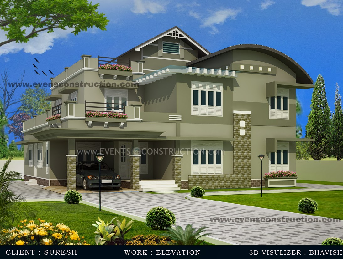 Evens construction pvt ltd 3d kerala house designs for Home design photo