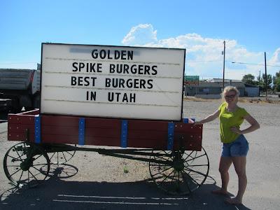 Cheers to hyperbole! Golden Spike Burgers in Garland, Utah.