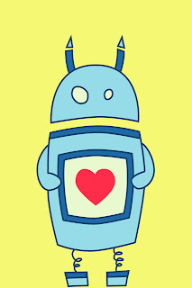Cute cartoon robot with heart iPhone wallpaper