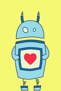 Cute cartoon robot with heart iPhone wallpaper