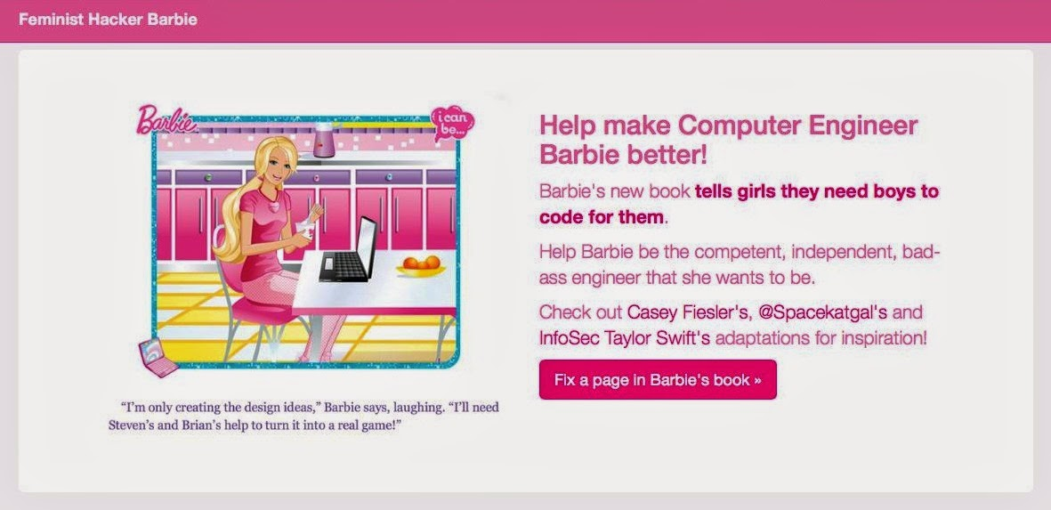 Users can revise computer engineer Barbie text on the Feminist Hacker Barbie site