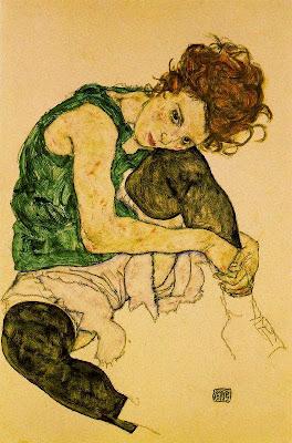 Noia aseguda amb el genoll enlaire (Egon Schiele)