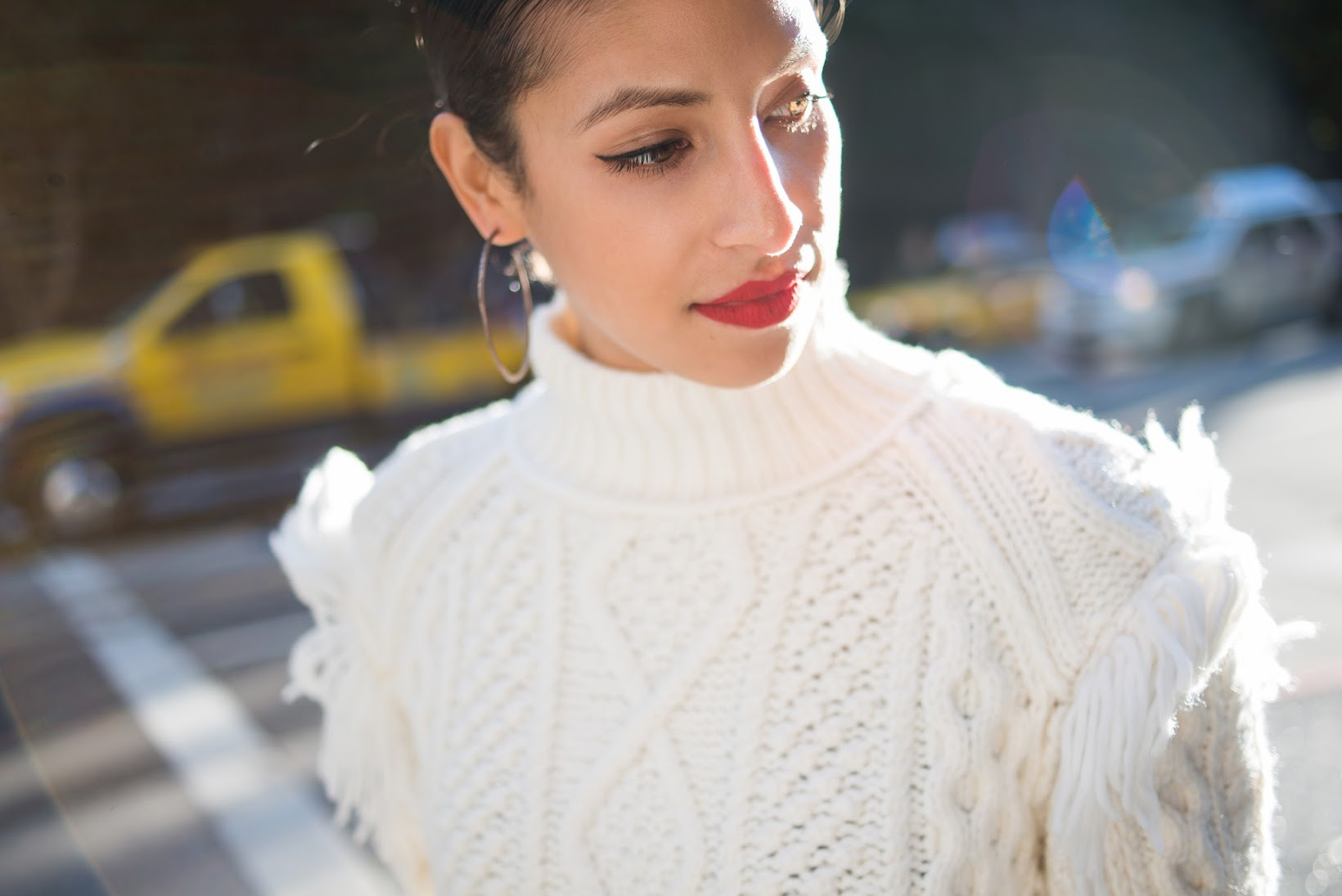 Allergic To Vanilla, Winter style, what to wear this Winter, Coach Fall 2015, Coach Aran Funnelneck Turtleneck, Coach, Stila Beso 10 red lips, chunky knit
