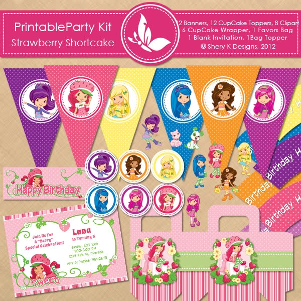 Shery K Designs Free Printable Party Kit Strawberry Shortcake