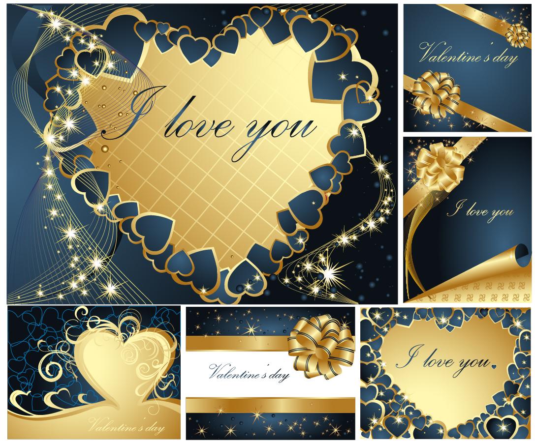 華やかなバレンタインデー グリーティングカード テンプレート Heart romantic valentine day greeting card イラスト素材2