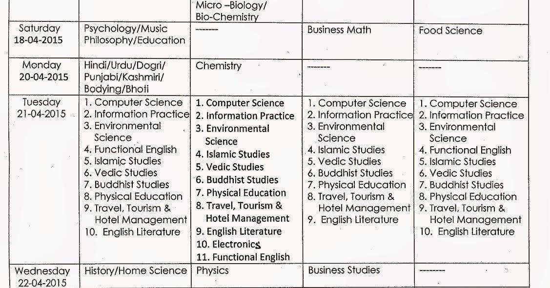 jkbose 11th datesheet summer 2015 exam