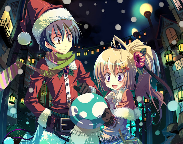 anime girl,anime couple,anime christmas